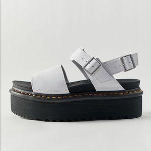 Dr. Martens White Leather Voss Quad Platform Air Wair Classic Sandals NWB